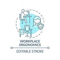 icona del concetto di ergonomia sul posto di lavoro