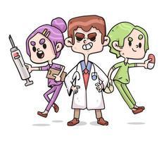 illustrazione carina di coronavirus infermiere e medici di operatori sanitari vettore