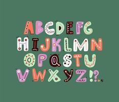 simpatico design funky con lettere dell'alfabeto colorato e giocoso vettore