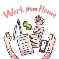 lavoro da casa covid-19 illustrazione