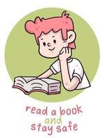 leggere un libro e stare al sicuro illustrazione del coronavirus
