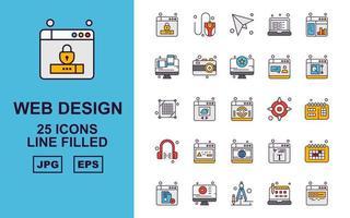 25 pacchetti di icone riempite di linea di design e sviluppo web premium vettore