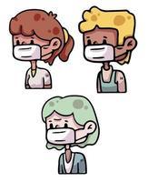 persone che indossano maschera covid-19 illustratrion coronavirus illustrazione