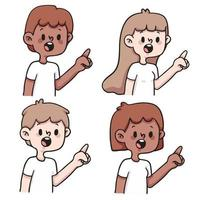 persone che indicano insieme simpatico cartone animato illustrazione vettore