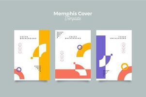 set di copertine geometriche di Memphis vettore