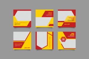modello di post sui social media rosso e giallo vettore