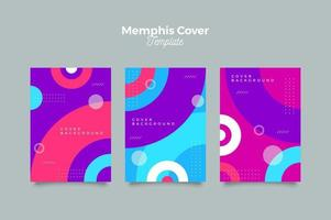 modello di progettazione di copertina colorata di memphis vettore