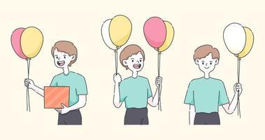 buon compleanno un ragazzo che tiene palloncini un'illustrazione di persone carine vettore