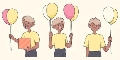 ragazzo di buon compleanno che tiene palloncini un'illustrazione di persone carine vettore