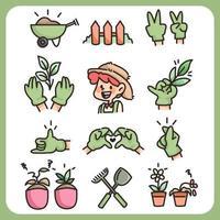 giardinaggio agricoltura simpatico cartone animato contadino collezione di icone disegnate a mano e attrezzi agricoli pollice verde vettore