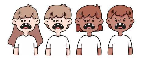 cattivo set di denti carino persone illustrazione vettore