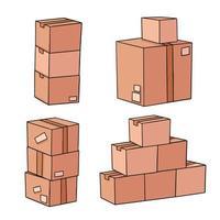scatole di cartone fumetto illustrazione design vettore