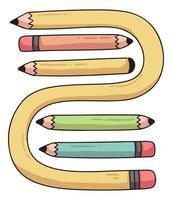 set di matite simpatico cartone animato illustrazione vettore