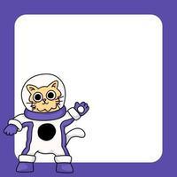 gatto che indossa tuta spaziale simpatico cartone animato illustrazione vettore