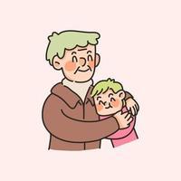 nonni e nipoti simpatici legami familiari illustrazione vettore