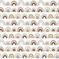 modello senza cuciture arcobaleno carino vettoriale in stile scandinavo isolato su priorità bassa bianca per i bambini. illustrazione disegnata a mano del fumetto per poster, stampe, cartoline, tessuto, libri per bambini