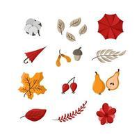 vettore autunno carino set. elementi autunnali disegnati a mano foglie, ombrello, cotone, bacche e frutti. ClipArt autunnali per l'illustrazione dell'autoadesivo dell'invito dell'etichetta della copertina del manifesto della carta web