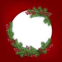sfondo con bordo di rami di albero di Natale dall'aspetto realistico decorato con bacche e coni. biglietto di auguri con posto per il testo