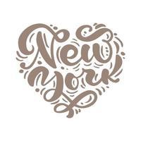 testo di calligrafia di New York City a forma di cuore. NY logo isolato. etichetta o logotipo di New York. distintivo vintage in stile scandinavo. ottimo per t-shirt o poster vettore