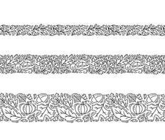 set di monoline ornamento senza cuciture con ghiande, zucca e foglie di quercia autunnali in nero. perfetto per carta da parati, riempimento carta regalo, sfondo della pagina web, biglietto di auguri