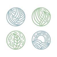 set di emblemi bio rotondi in uno stile lineare cerchio. logo di foglie verdi di piante tropicali. vettore astratto distintivo per la progettazione di prodotti naturali, negozio di fiori, cosmetici, concetti di ecologia, salute, spa