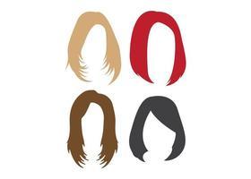 set di disegno dell'icona di parrucca capelli vettore