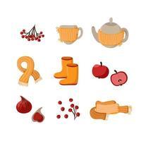 vettore autunno carino set. elementi autunnali disegnati a mano bacche, sciarpa, teiera, tazza e frutta. ClipArt autunnali per l'illustrazione dell'autoadesivo dell'invito dell'etichetta della copertina del manifesto della carta web