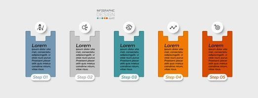 Design a medaglione a 5 fasi di forma quadrata utilizzato per visualizzare i risultati del lavoro e spiegare il processo di pianificazione. infografica.
