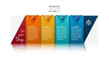 il nuovo rettangolo viene utilizzato per presentazioni di vendita, risultati di marketing, analisi aziendali. vettore infografica.