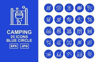 25 pacchetto di icone cerchio blu campeggio premium