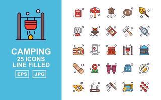 25 pacchetti di icone riempite di linea di campeggio premium