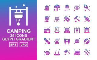 25 pacchetto di icone gradiente glifo campeggio premium