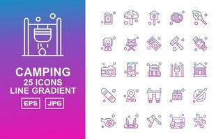 25 pacchetto di icone gradiente linea campeggio premium
