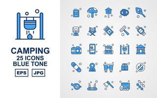 Pacchetto di 25 icone premium in tonalità blu da campeggio