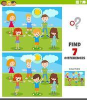 differenze compito educativo con gruppo di bambini dei cartoni animati vettore