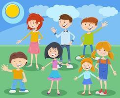 gruppo di personaggi dei bambini o adolescenti dei cartoni animati vettore