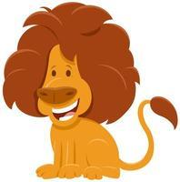 carattere animale selvatico del fumetto del leone africano vettore