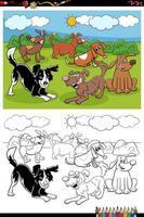 Cartoon cani gruppo libro da colorare pagina vettore