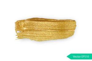 macchia di pennellata acrilica dorata vettore