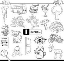 Lettera I compito educativo pagina del libro da colorare vettore
