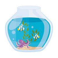 pesci d'acquario e polpi con acqua, alghe, animali marini dell'acquario vettore
