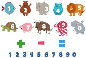 numeri impostati con personaggi animali dei cartoni animati vettore