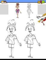 compito di disegno e colorazione con la ragazza vettore