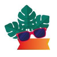 accessorio occhiali da sole con etichetta e foglie tropicali su sfondo bianco vettore