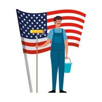 Pittore uomo con rullo secchio e bandiera degli Stati Uniti disegno vettoriale