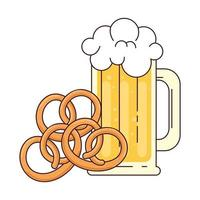 boccale di birra con pretzel su sfondo bianco vettore