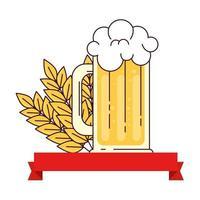 boccale di birra con decorazione spike e nastro su sfondo bianco vettore