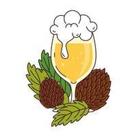 bicchiere di birra con semi di luppolo su sfondo bianco vettore