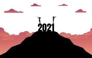 uomo d'affari e donna con un binocolo in piedi sulla cima della montagna vettore
