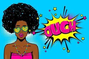 Pop art ragazza afroamericana nera vettore